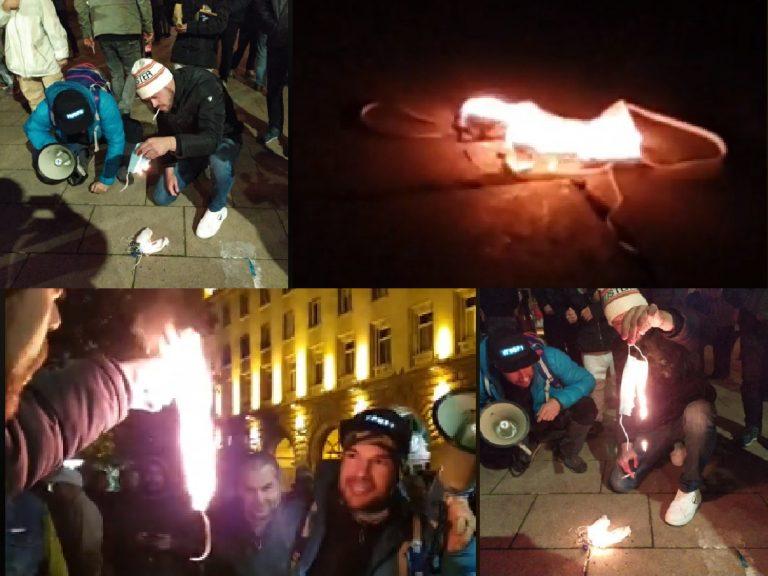 Протестиращите със скандална изцепка на Ларгото: Горят маски, защото били по-опасни от К-19 (ВИДЕО)